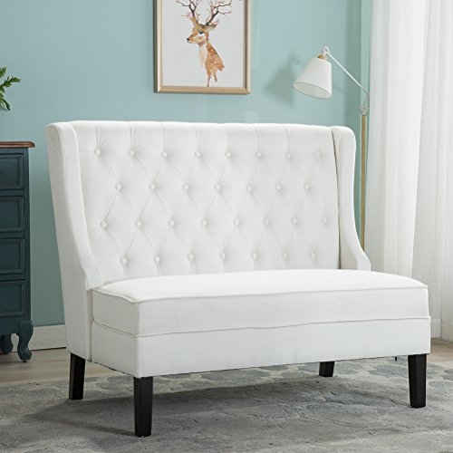 Tongli Modern Settee Bench Banquette loveseat Button Tufted Fabric Sofa Couch Chair 2-Seater Loveseat White (Seats Banquette)