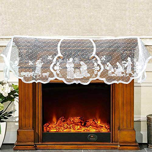 Christmas Mantel Fireplace Scarf White Lace Jesus Garland Decoration (Christmas Mantel Scarf)