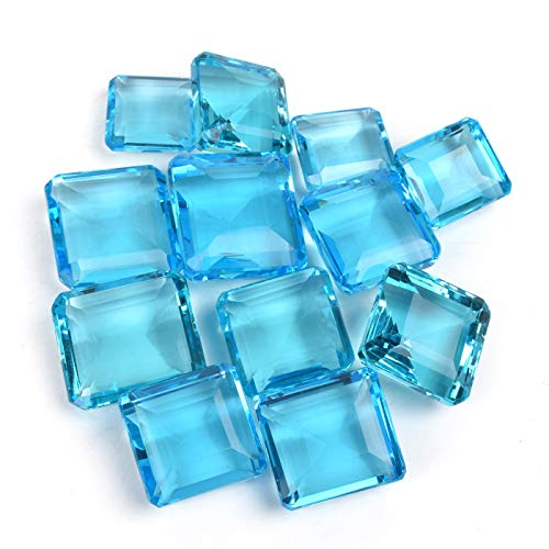 Wholesale lot of 6 Piece 500 Ct Sparkling Swiss Blue Topaz Faceted Gemstone Square Shape Jewelry Making Loose Gemstones