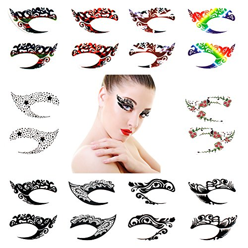 CINEEN 10 Sets Temporary Eye Tattoo Makeup Stickers Eye shad
