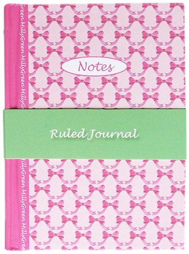 A6 Hard Cover Notebook, Milly Green, Pink Bow Design, 160 Pages, by Robert Frederick