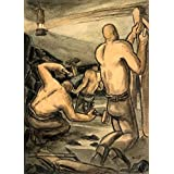 Vintage British WW2 1939-45 Propaganda Paintings COAL MINERS AT WORK, CUTTING COAL AND PROPPING. PAINTING NUMBER FOUR. 250gsm Gloss Art Card A3 Reproduction Poster by World of Art