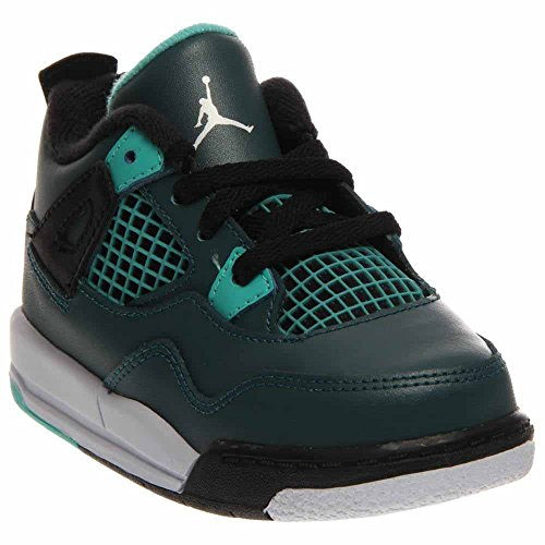 nike air jordan 4 retro BT infant toddler trainers 308500 sneakers shoes (UK 3.5 us 4C EU 19.5, teal white black retro 330) by NIKE