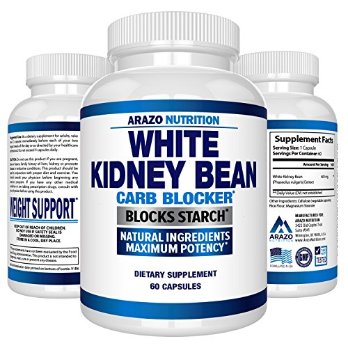 White Kidney Bean Extract - 100% Pure Carb Blocker and Fat Absorber for Weight Loss - Intercept Carbs - Arazo Nutrition