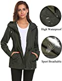 Women Coat Rain,Windbreaker Jacket Waterproof with Mesh Lining Outdoor Sports