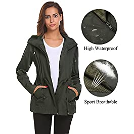 Romanstii Rain Jacket Women Waterproof Hood Lightweight Raincoat Outdoor Windbreaker