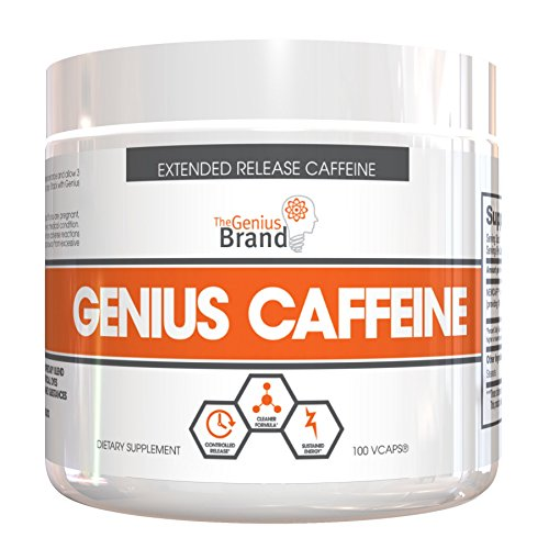 Genius Caffeine - Extended Release Microencapsulated Caffeine, All-Natural Non-Crash Sustained Energy, 100 VCaps