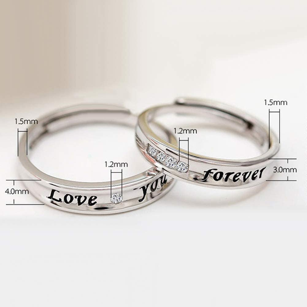 Acamifashion Love You Forever Rhinestone Lover Couple Promise Finger Ring Set Jewelry Gift