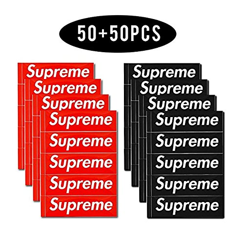 Supreme Sticker 100 PCS Supreme Waterproof and Oil Proof Sticker Decal for Skateboard Laptop Toy car Luggage (Red+Black) (RED+Black)