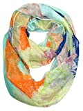 Peach Couture Shimmering Rainbow Paisley Sparkle Infinity loop Scarf Citrine and Orange offers