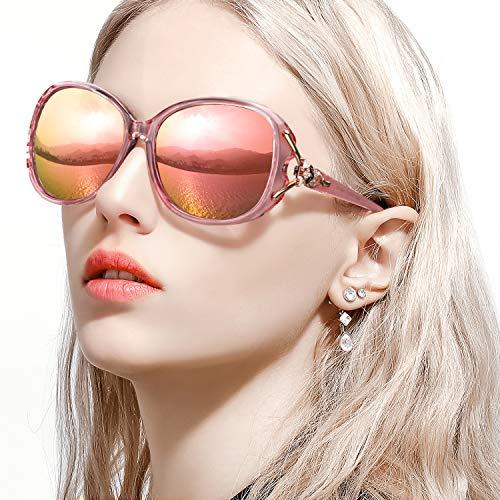 FIMILU Classic Oversized Sunglasses for Women, HD Polarized Lenses 100% UV400 Protection Fashion Retro Eyewear (Pink Frame/Rose Gold Mirrored Lens Oversized Polarized Sunglasses)