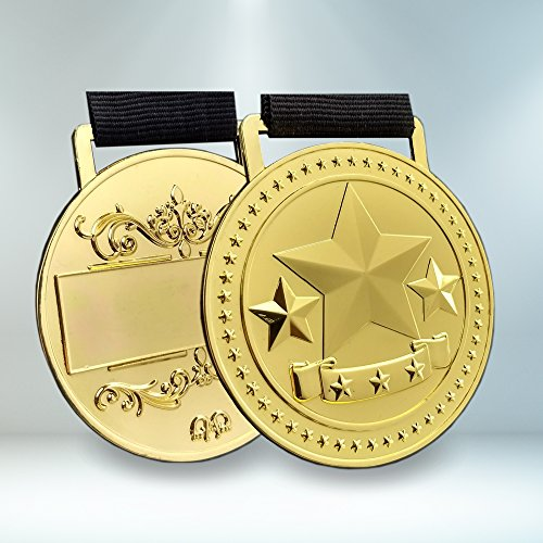 Prestige Palace Awards Gold Star Award Medals for 1st Place Recognition, Star Decorated Ribbon and Black Gift Box is Included with Every (Medal Box)