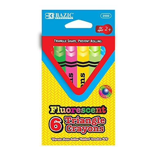 BAZIC 6 Fluorescent Color Triangle Crayon (2502-144)