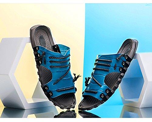 Sandalias del tamaño del nuevo sandalias del patrón del verano Sandalias de las sandalias del ocio de las sandalias de la sandalia libre antideslizante, azul, = = 9.5, UE = 44