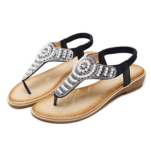 Agowoo Kvinna Sandaler Bling Jeweled Rem Walking Strand Sandles Black