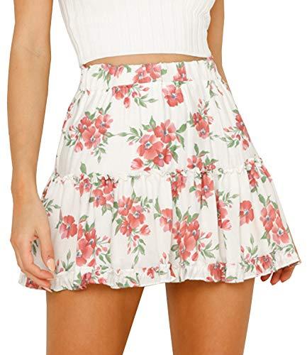 Doballa Women's Floral High Waist Drawstring Ruffle Flared Boho A-Line Pleated Skater Mini Skirt (M, Red Flower)