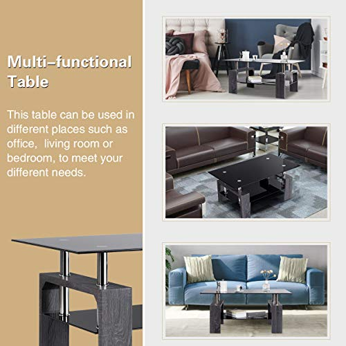home & kitchen, furniture, living room furniture, tables,  coffee tables  picture, Tangkula Glass Coffee Table Modern Simple Style Rectangular Wood Legs End Side Table Living Room Home Furniture with Shelf (Black) in US3