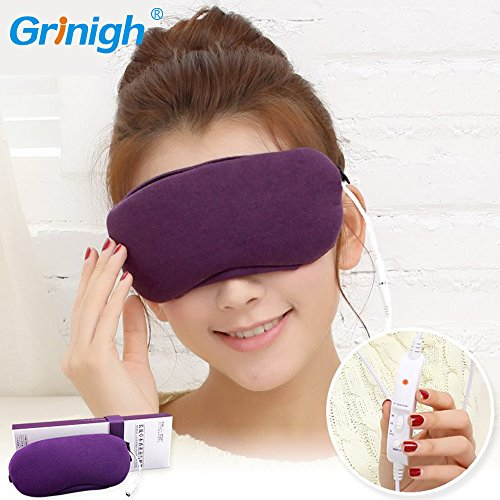 Grinigh Sleep Hot Steam Eye Mask with USB Heated Lavender Scented Eye Pillow with Soft Cover for Eye Relax - Purple Scented Eye Mask