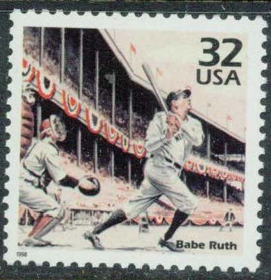 (Babe Ruth Baseball Player U.S. Postage Stamp Mint, Never hinged)