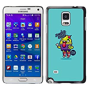 LECELL--Funda protectora / Cubierta / Piel For Samsung Galaxy Note 4 SM-N910 -- Blue Cupcake Food Cooking Text --