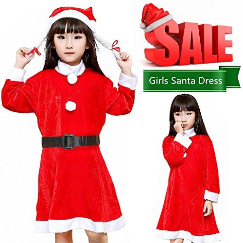 Santa Claus Costume Girls Kids Christmas Mrs.Fancy Dress