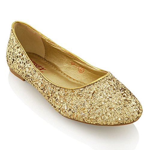 Essex Glam Womens Gold Glitter Bridal Dolly Pumps Shoes 8 2A(N) US