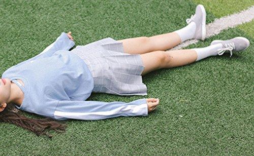 a Moda Lettera Tops Patchwork Maglie Primavera Simple Maglietta Blu Felpe Manica Camicie Jumper Giovane Casual Fashion Donne Lunga Bluse T e Autunno Shirts 8IaxzCx0n
