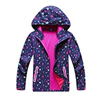 QYS Mountain Warehouse Printed Seasons Girls Jacket - Padded, Water Resistant, Light Microfibre Filling, Elastic Cuffs, Pockets - for Cold Winter Weather