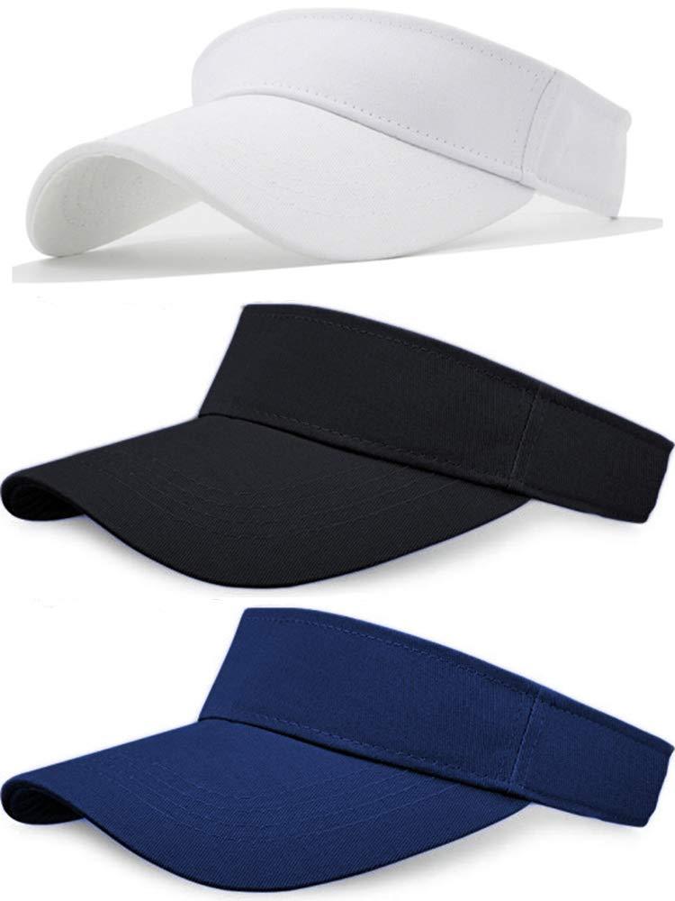 Sikuer Sun Visor 3pcs Visor Hat Cotton Outdoor Sport Beach Golf Visor Cap for Women Men 3 Color Packed Adjustable
