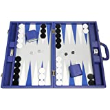 Silverman & Co. 19-inch Premium Backgammon Set - Large Size - Indigo Blue Board