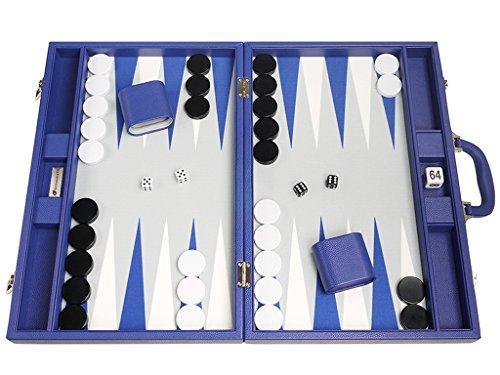 Silverman & Co. 19-inch Premium Backgammon Set - Large Size - Indigo Blue Board