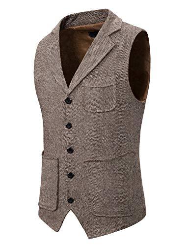 Atryone Mens Herringbone Waistcoat with Lapels Wool Tweed Suit Vest