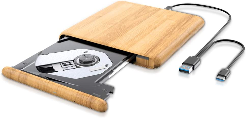 Updated External CD DVD Drive, USB 3.0 Type C Portable Ultra Thin Burner Player Writer Superdrive CD DVD RW, Compatible with Windows 10 8 7 XP Vista Mac OS System for Mac Pro Air iMac Laptop