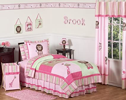 buy popular 0decf e2ae3 Sweet Jojo Designs 4-Piece Pink and Green Girls Jungle Kids Bedding Twin Set