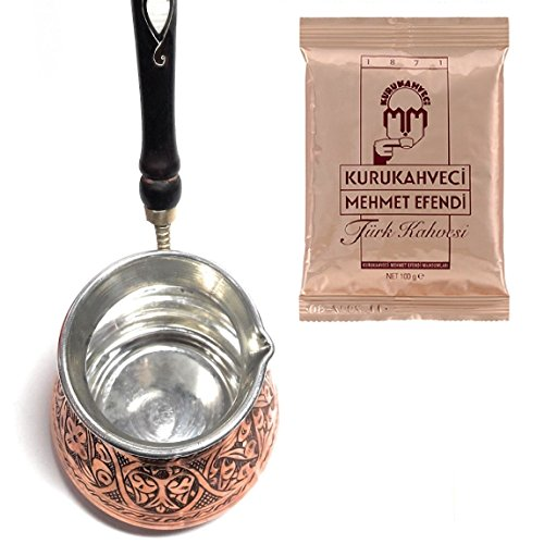 Silk Road Tin - Thickest Solid Hammered and Engraved Copper Turkish Greek Arabic Coffee Pot / Coffee Maker Cezve, Jezve, Jazva with Wooden Handle (Large - 15 Oz) Bundle with 1 Pack 3.3 Oz Mehmet Efendi Turkish Coffee