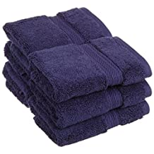 Long Staple Cotton Face Towel Set - 6-Piece 900 GSM - Heavy Weight & Absorbent Face Towels, Navy Blue