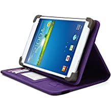 HKC 7 Inch Tablet Case, UniGrip PRO Series - PURPLE - By Cush Cases (Case Features Top Quality PU Leather with Bulit In Stand, Hand Strap, 3 Card Slots and SIM Card Holder)