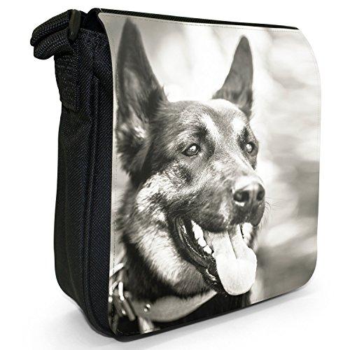 Shoulder amp; Small Size Black White Canvas German Dog Shepherd Bag w1qWX8