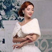 KAKA(TM) Gorgeous Winter Bridal Wedding Dress Wrap Artificial Plush Shawl-White