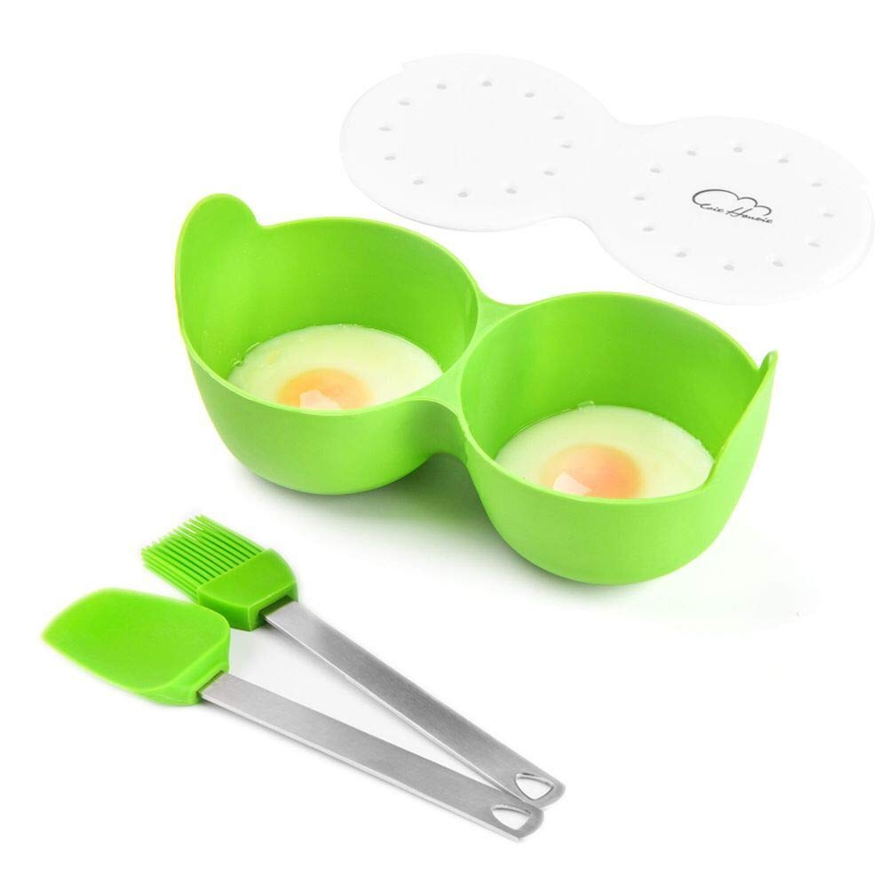 Egg Poacher,Silicone Egg Poaching Cups With Ring Standers Nonstick Egg Cooker Maker Double Cups Silicone Poaching Pods For Microwave or Stovetop Egg Cooking, No BPA(Green)