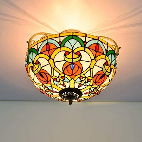 DIMPLEYA Ceiling Light 16 Inch Half Ceiling Light Tiffany Simple Style Heart Pattern Stained Galss Ceiling Lamp For Living Room Corridor Bedroom Ceiling
