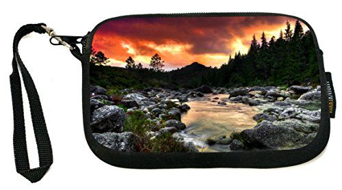 Rikki Knight Silhouette Mountain River On Orange Glow Sunset - Neoprene Clutch Wristlet Coin Purse with Safety Closure - Ideal case for Cosmetics Case, Camera Case, Cell Phones, Passport, etc.. (River Silhouette)