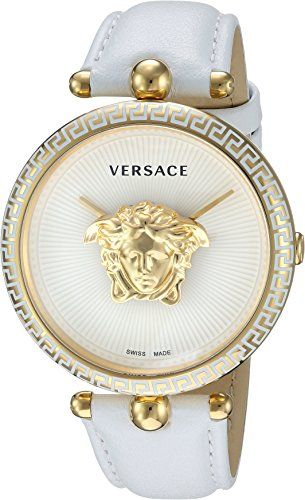 Versace Women's 'Palazzo Empire' Swiss Quartz Gold and Leather Casual Watch, Color:White (Model: VCO040017)