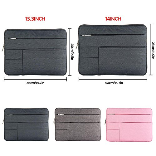 With Notebook Multi Portable Laptop Liner Computer Case Dark Inch Protection Compatible sony samsung Shockproof Bag Kobwa 14 14inch Sleeve Apple Gray pocket Swdq6xvv