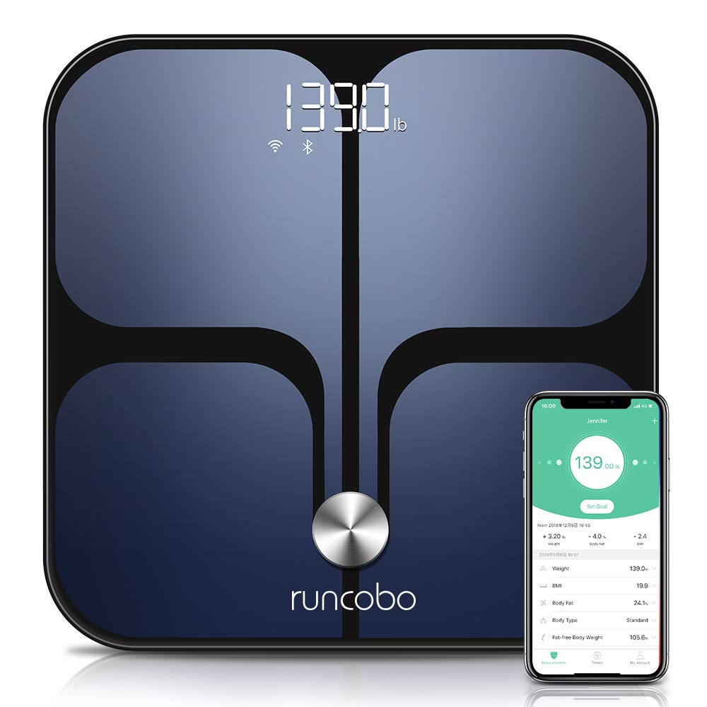 Weight Scale - Wi-Fi Bluetooth Auto - Switch Smart Scale Digital Weight, Body Fat Scale for Weight, 14 Body Composition Monitor with iOS, Android APP, Support Unlimited Users, Auto - Recognition by runcobo