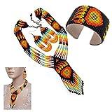 Native American Style Beaded Jewelry Set Necklace Earrings Bracelet Handmade (Black)