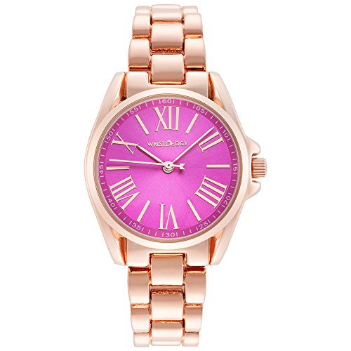 WRISTOLOGY Lilly Womens Small Rose Gold Pink Face Boyfriend Metal Watch