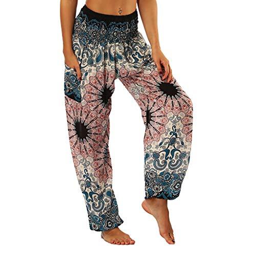 Ahagogo Women Floral Prints Drawstring Waist Wide Leg Flowy Pants Loose Yoga Trousers Hippy Smock High Waist Yoga Pants Ladies Casual Summer Sports Workout Gym Lounge Pants Pink