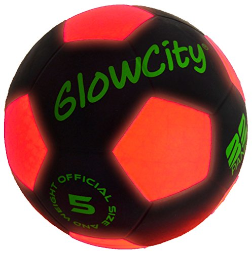 GlowCity Light Up LED Soccer Ball Black Limited Edition]()