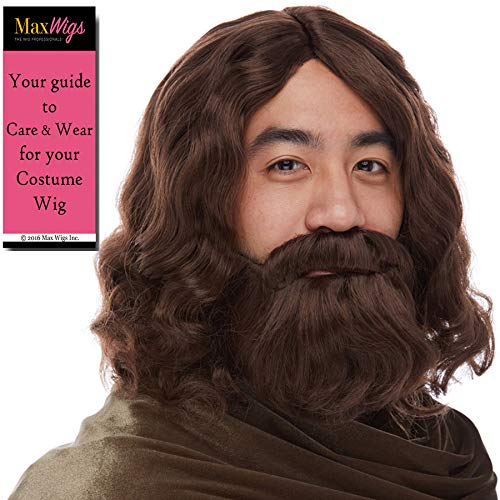 Jesus Biblical Set Color Brown - Sepia Wigs Mustache Beard Wig Synthetic Cosplay Halloween Dress Up Fancy Christ Easter Testament Bundle MaxWigs Hairloss ()